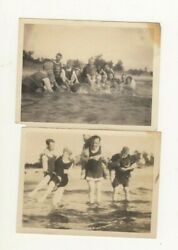 Two Early 20th Century Men Women Group Bathing Suit Fashion Photos