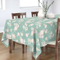 Tablecloth Mint Blush Gold Floral Big Pink Green Teal Cotton Sateen