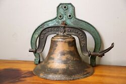 Antique C.s. Bell And Company 1 Yoke Full Cast Iron Dinner Bell Church House