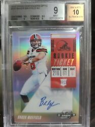 2018 Panini Contenders Optic Baker Mayfield Rc Auto Bgs 9/10 .5 Away From 9.5