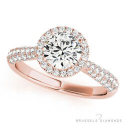 1.36 Ct Natural Pave Diamond Halo Engagement Ring Round D/si2 14k Rose Gold
