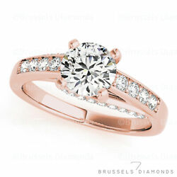 1.03 Ct Natural Diamond Solitaire Engagement Ring Round H/si2 14k Rose Gold