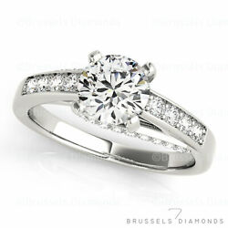 0.75 Ct D/si1 Real Diamond Solitaire Engagement Ring Round Solid 14k White Gold