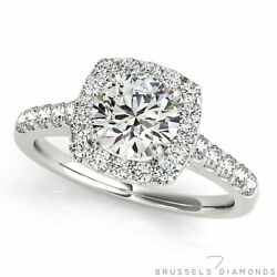 1.20 Ct Natural Diamond Square Halo Engagement Ring H/si2 Round 14k White Gold