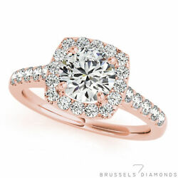 1.20 Ct H/si2 Natural Diamond Square Halo Engagement Ring Round 14k Rose Gold