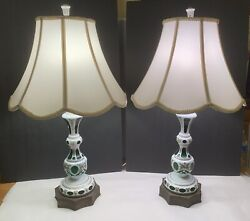 Large Pair Of Bohemian Hand Painted White Cased Cut To Green Glass Antique Lamps