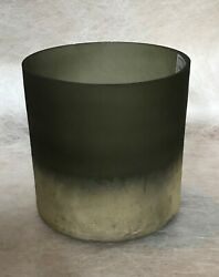 Coloured Glass Vase Plant Pot Decorative Glass - New - Grey/green And Gold