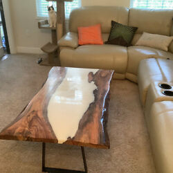White Epoxy Resin Wooden Sofa/dining Table Interior Furniture Deco Made To Order