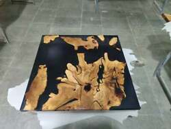 Black Wooden Solid Epoxy Resin Restaurant Dining Table Top Decors Made To Order