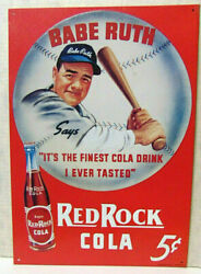 Babe Ruth Red Rock Cola 5c 12x16 Inch 1991 Embossed Tin Litho Baseball Sign
