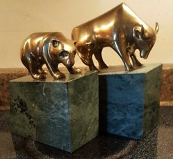 Vintage Bull And Bear Bookends-green Marble Base-brass Figures Stock Market