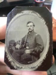 Civil War Union Officer Tintype Seated Sword And Cap Small 2.125x1.5 Unframed