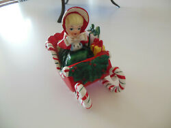 Vintage 1950's Christmas Lefton Candy Cane Sled And Shopper Girl Figurine