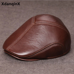 Akizon New Pure Real Leather-based Hat Winter Heat Malesand039s Berets Hats Cowhide L