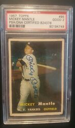 1957 Topps 95 Mickey Mantle Signed/auto Psa Dna