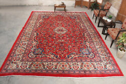 Hand Knotted Oriental Vintage Wool Traditional Floral Classic Red 9x13 Area Rug