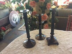 Set Of 3 Metal Bronze Tone Candlestick-candle Holders With Faux Granite Finish