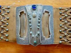 Rare Antique Turriet And Becker Bardach 20th Century Buckle Leather Belt Stones
