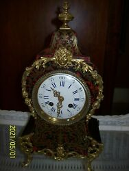 Antique French Boulle Clock Desk Mantle Brass And Tortoiseshell Inlay