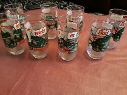 Vintage 1995 Budweiser Frog Beer Glasses. Set Of 8 Very Good Condition