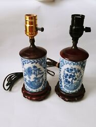 Vintage 2 Hand Painted Chinese Porcelain Vase Table Lamps Blue