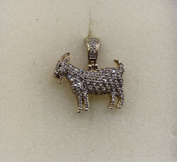 Stunning 10k Yellow Gold Diamond Goat Greatest Of All Time Pendant Charm, Iced