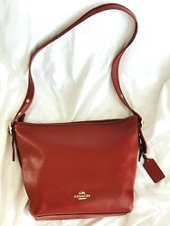Used and authentic red large crossbody coach bag $140.00