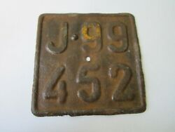 Old Vintage License Plate Bicycle Poland 1930s