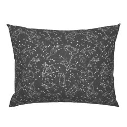 Constellations Dark Grey Charcoal Nursery Stars Pillow Sham by Roostery