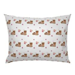 Cowgirl Boots Floral Flowers Pink Western Pillow Sham By Roostery