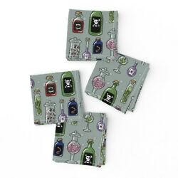 Cocktail Napkins Poison Halloween Spooky Bottles Mad Scientist Witch Set Of 4