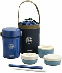 Thermos Insulated Thermal Lunch Box Bento Food Container Jar Storage Navy Ja