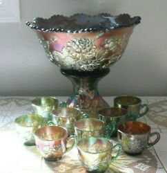 Fenton Carnival Glass Wreath Of Roses Punch Bowl Set And 9 Cups Vintage Interior