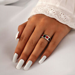 And Sun Men Punk Love Heart Open Finger Rings Couple Rings Set Fashion Jewelry