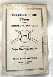 Program From The 1948 Brooklyn Dodgers Welcome Home Dinner.