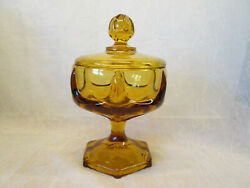 Viking Glass Amber Gold Epic Column Ribbed Covered Lidded Compote Dish Candy