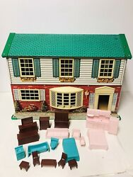 Vintage Wolverine Two Story Colonial Tin Litho Metal Dollhouse Furniture Usa Toy