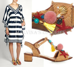 Dolce And Gabbana Shoes Raffia T-strap Shell Pompom Woven Sandals 1095 36.5 6.5