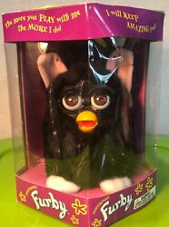 Vintage Rare1998 Furby Witches Cat Black Fur Brown Eyes Clean/nice New In Box