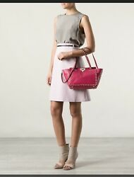 Valentino Rockstud Trapeze Small Tote In Rare Hot Pink Gtd Authentic