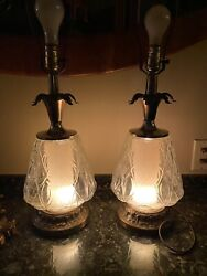 Vintage Mid Century Large Glass Hollywood Regency 3-way Lamp Pair Murano Style