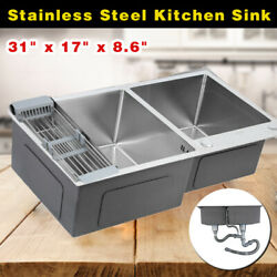 31.5x17.7x8.7 Inch Stainless Double Bowl Kitchen Sink Wash Basin Top/ Undermount