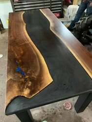 Wooden Black Solid Epoxy Resin Dining Table Top Furniture Decorate Made To Order