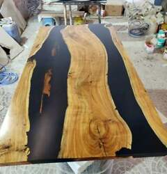 Wooden Black Epoxy Resin Dining Table Walnut Home Furniture Decor Made To Order
