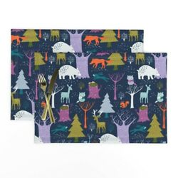 Cloth Placemats Woodland Beer Deer Trees Forest Winter Animals Set Of 2