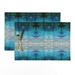 Cloth Placemats Music Blue Watercolor Note Abstract Green Geometric Set Of 2