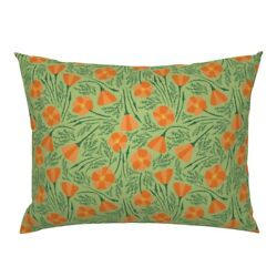 Poppies California Orange Flowers Wildflowers Pillow Sham By Roostery