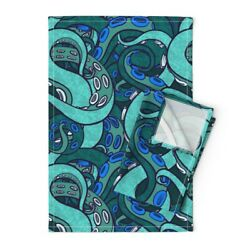 Tentacle Arms Suckers Sea Monster Linen Cotton Tea Towels By Roostery Set Of 2