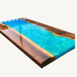 Blue Epoxy Resin River End Dining/coffee Table Interior Furniture Made To Order