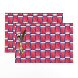 Cloth Placemats Red Solo Cup Red Cup Red Beer Party Cup Football Solo Set Of 2